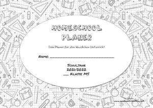 Homeschool Planer für den häuslichen Unterricht 2021/22 österreichischer Lehrplan NMS schwarz weißes Design