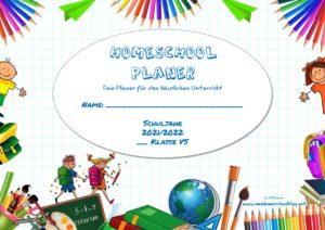 Homeschool Planer für den häuslichen Unterricht 2021/22 österreichischer Lehrplan Volksschule buntes Design
