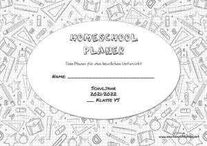 Homeschool Planer für den häuslichen Unterricht 2021/22 österreichischer Lehrplan Volksschule schwarz weißes Design